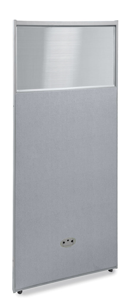 "OFM RiZe Series Model PG6325 63"" x 25"" Vinyl Panel with Polycarbonate, Gray with Gray Frame ; UPC: 845123015124 ; Image 1"