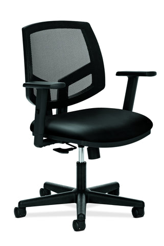 HON Volt Mesh Back Task Chair | Synchro-Tilt, Tension, Lock | Adjustable Arms | Black SofThread Leather ; UPC: 192767001069 ; Image 1