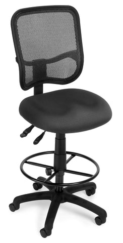 OFM Comfort Series Model 130-DK Ergonomic Mesh Swivel Armless Task Chair with Drafting Kit, Mid Back, Gray ; UPC: 845123011751 ; Image 1