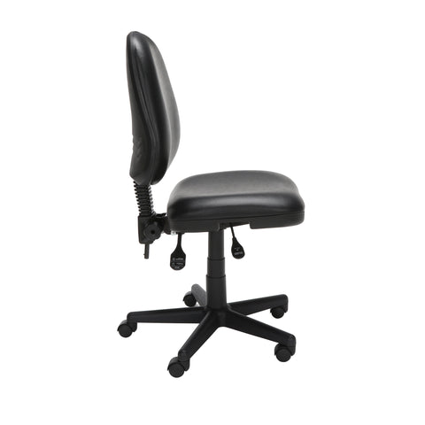 OFM Straton Series Armless Swivel Task Chair, Anti-Microbial/Anti-Bacterial Vinyl, Mid Back, in Black (119-VAM-606) ; UPC: 811588012664 ; Image 4