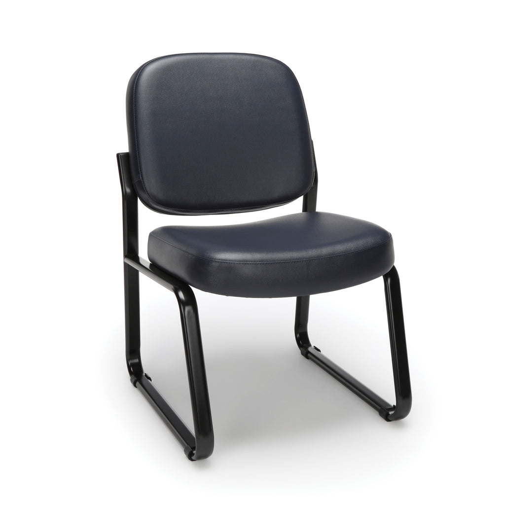 OFM Model 405-VAM Armless Guest and Reception Chair, Anti-Microbial/Anti-Bacterial Vinyl, Navy ; UPC: 811588014354 ; Image 1