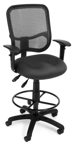 OFM Comfort Series Model 130-AA3-DK Ergonomic Mesh Swivel Task Chair with Arms and Drafting Kit, Mid Back, Gray ; UPC: 845123011713 ; Image 1