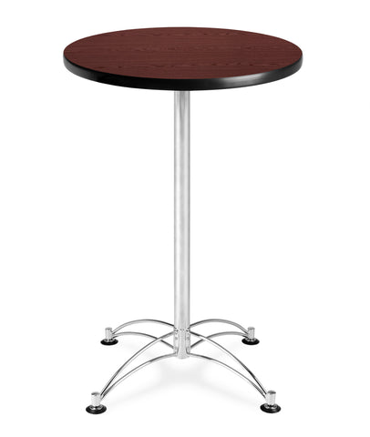 "OFM Model CCLT24RD 24"" Round Cafe Height Table, Mahogany with Chrome Base ; UPC: 845123006283 ; Image 1"