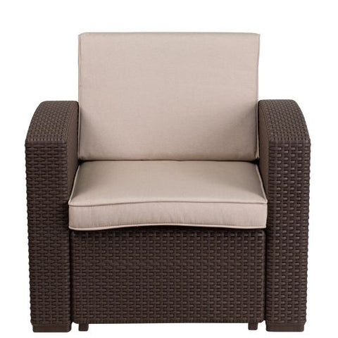 Flash Furniture Chocolate Brown Faux Rattan Chair with All-Weather Beige Cushion DADSF11GG ; Image 5 ; UPC 889142156703