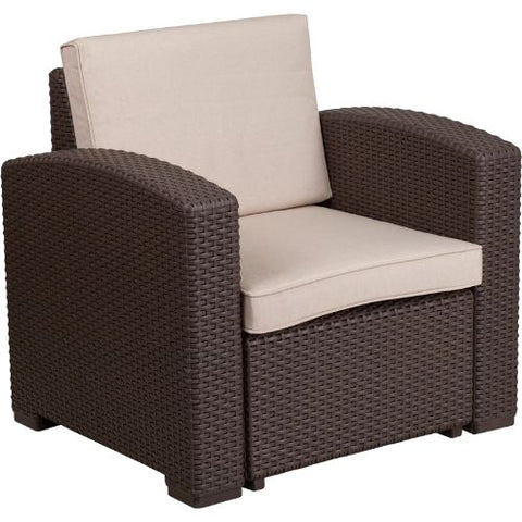 Flash Furniture Chocolate Brown Faux Rattan Chair with All-Weather Beige Cushion DADSF11GG ; Image 2 ; UPC 889142156703