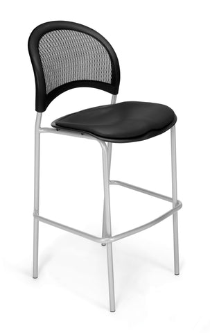 OFM 338S-VAM-606 Moon Cafe Height Vinyl Silver Chair, Black ; UPC: 845123021729 ; Image 1