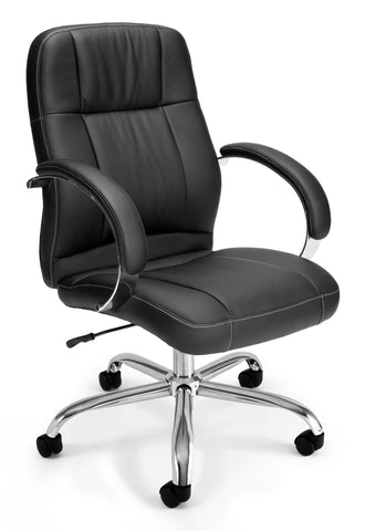 OFM Stimulus Series Model 517-LX Leatherette Executive Mid Back Chair with Arms, Black ; UPC: 845123012253 ; Image 1
