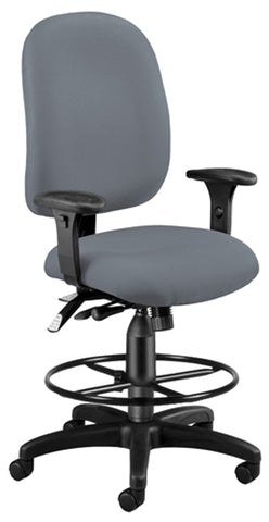OFM Model 125-DK Ergonomic Task Chair with Arms and Drafting Kit, Fabric, Mid Back, Gray ; UPC: 845123025727 ; Image 1