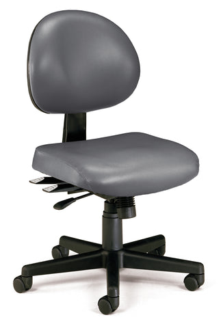 OFM 241-VAM 24 Hour Ergonomic Armless Task Chair, Anti-Microbial/Anti-Bacterial Vinyl, Mid Back, Charcoal ; UPC: 811588013487 ; Image 1