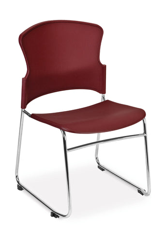 OFM Multi-Use Model 310-P Stack Chair with Plastic Seat and Back, Wine ; UPC: 811588013883 ; Image 1