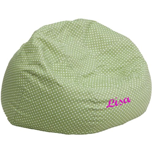 Flash Furniture Personalized Oversized Green Dot Bean Bag Chair DGBEANLARGEDOTGRNEMBGG ; Image 1 ; UPC 847254074322