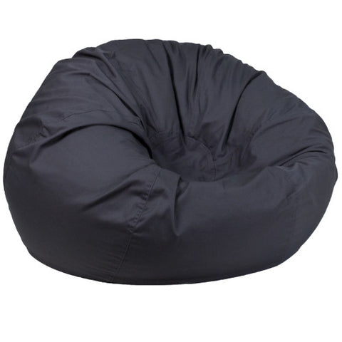 Flash Furniture Oversized Solid Gray Bean Bag Chair DGBEANLARGESOLIDGYGG ; Image 1 ; UPC 889142194286