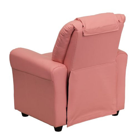 Flash Furniture Contemporary Pink Vinyl Kids Recliner with Cup Holder and Headrest DGULTKIDPINKGG ; Image 3 ; UPC 847254019019