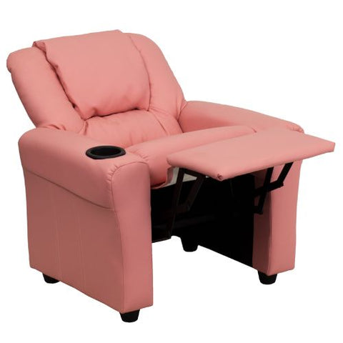 Flash Furniture Contemporary Pink Vinyl Kids Recliner with Cup Holder and Headrest DGULTKIDPINKGG ; Image 5 ; UPC 847254019019