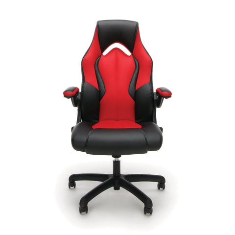 OFM Essentials Collection High-Back Racing Style Bonded Leather Gaming Chair, in Red (ESS-3086-RED) ; UPC: 845123090640 ; Image 2