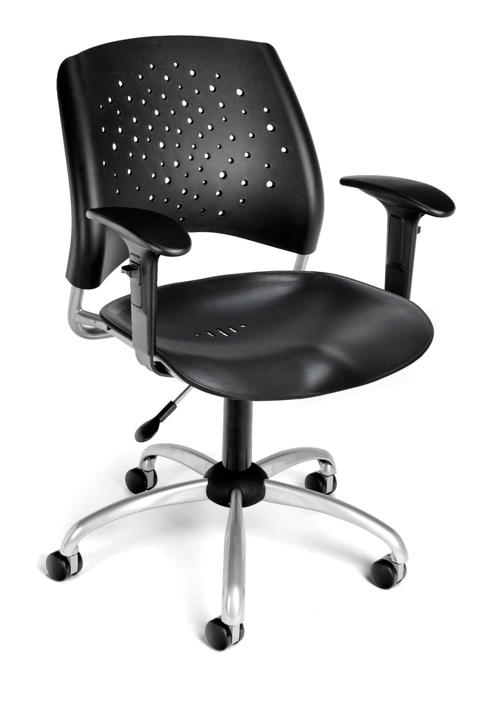 OFM 326-P-AA3-BLK Stars Swivel Plastic Chair with Arms ; UPC: 845123012734 ; Image 1