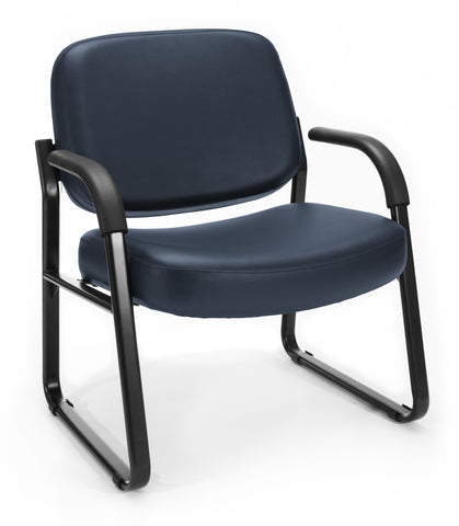 OFM Model 407-VAM Big and Tall Guest and Reception Chair with Arms, Anti-Microbial/Anti-Bacterial Vinyl, Navy ; UPC: 845123028612 ; Image 1