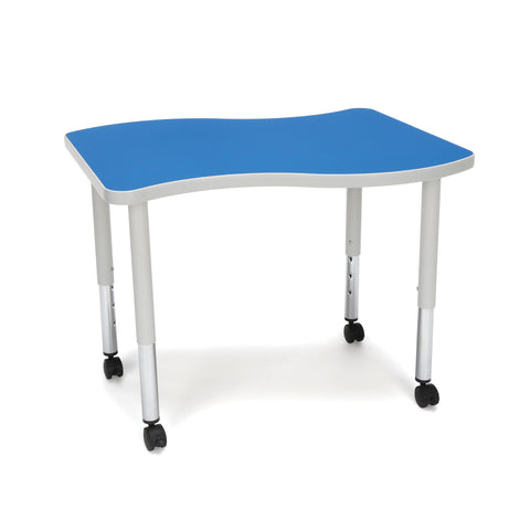 OFM Adapt Series Small Wave Student Table - 20-28? Height Adjustable Desk with Casters, Blue (WAVE-S-SLC) ; UPC: 845123096222 ; Image 1