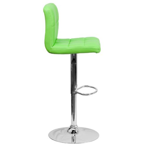 Flash Furniture Contemporary Green Quilted Vinyl Adjustable Height Barstool with Chrome Base DS810MODGRNGG ; Image 3 ; UPC 847254023979