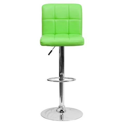 Flash Furniture Contemporary Green Quilted Vinyl Adjustable Height Barstool with Chrome Base DS810MODGRNGG ; Image 5 ; UPC 847254023979
