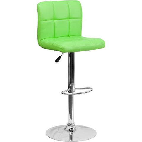 Flash Furniture Contemporary Green Quilted Vinyl Adjustable Height Barstool with Chrome Base DS810MODGRNGG ; Image 1 ; UPC 847254023979
