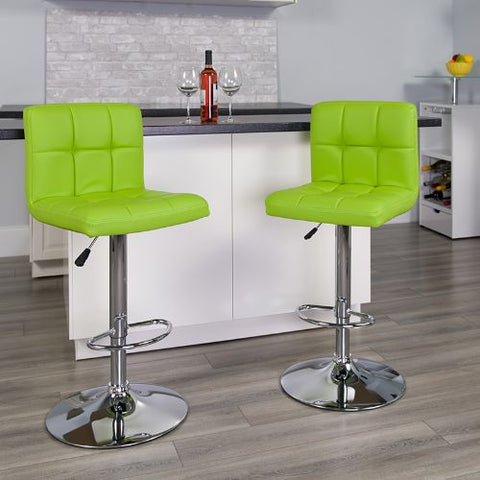 Flash Furniture Contemporary Green Quilted Vinyl Adjustable Height Barstool with Chrome Base DS810MODGRNGG ; Image 2 ; UPC 847254023979