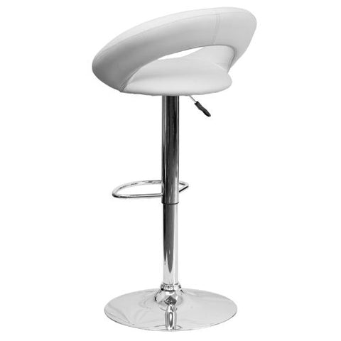 Flash Furniture Contemporary White Vinyl Rounded Orbit-Style Back Adjustable Height Barstool with Chrome Base DS811WHGG ; Image 3 ; UPC 847254016810