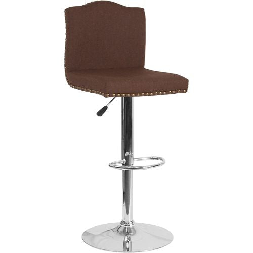 Flash Furniture Bellagio Contemporary Adjustable Height Barstool with Accent Nail Trim in Brown Fabric DS8111BRNFGG ; Image 1 ; UPC 889142336815