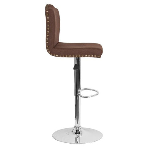 Flash Furniture Bellagio Contemporary Adjustable Height Barstool with Accent Nail Trim in Brown Fabric DS8111BRNFGG ; Image 2 ; UPC 889142336815