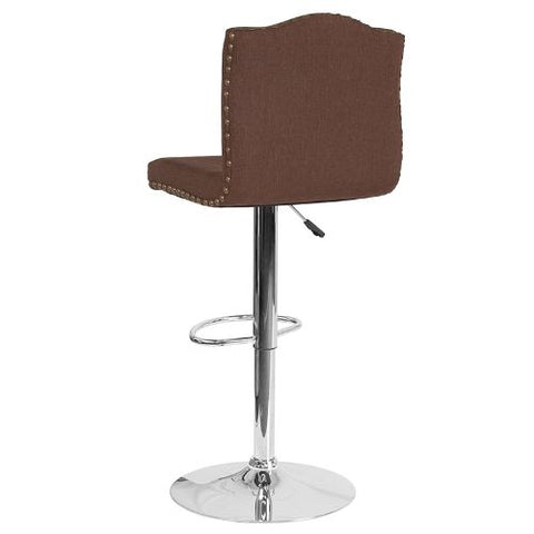 Flash Furniture Bellagio Contemporary Adjustable Height Barstool with Accent Nail Trim in Brown Fabric DS8111BRNFGG ; Image 3 ; UPC 889142336815