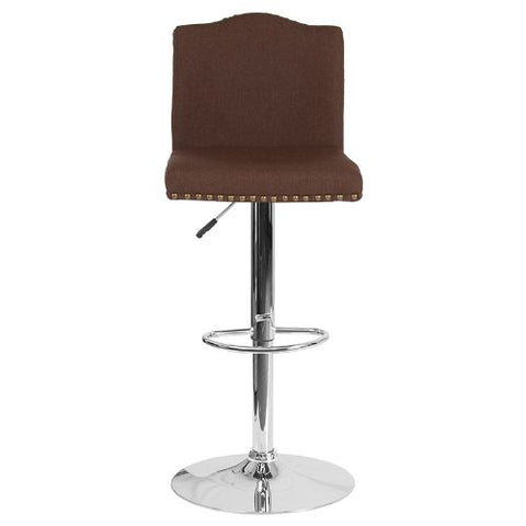Flash Furniture Bellagio Contemporary Adjustable Height Barstool with Accent Nail Trim in Brown Fabric DS8111BRNFGG ; Image 4 ; UPC 889142336815