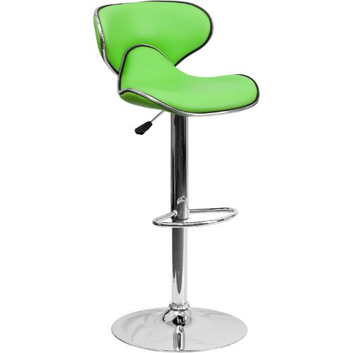 Flash Furniture Contemporary Cozy Mid-Back Green Vinyl Adjustable Height Barstool with Chrome Base DS815GRNGG ; Image 1 ; UPC 847254065405