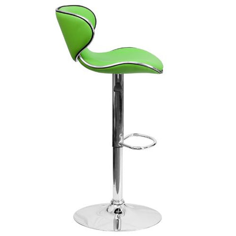 Flash Furniture Contemporary Cozy Mid-Back Green Vinyl Adjustable Height Barstool with Chrome Base DS815GRNGG ; Image 3 ; UPC 847254065405