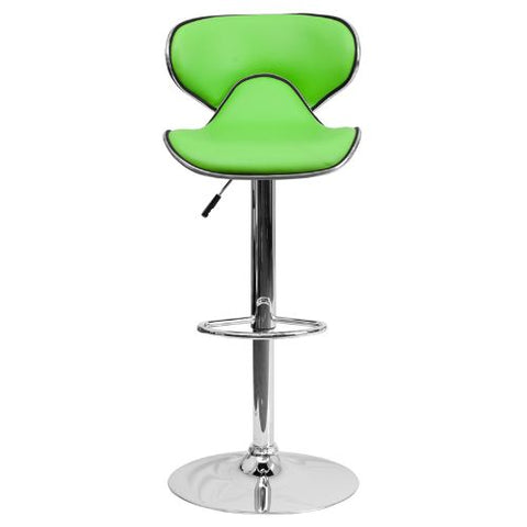 Flash Furniture Contemporary Cozy Mid-Back Green Vinyl Adjustable Height Barstool with Chrome Base DS815GRNGG ; Image 5 ; UPC 847254065405