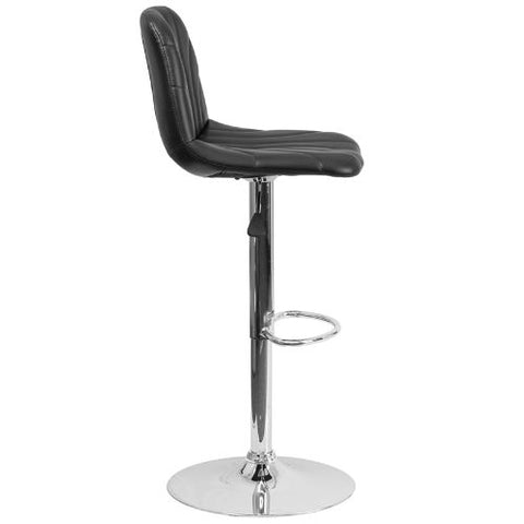 Flash Furniture Contemporary Black Vinyl Adjustable Height Barstool with Embellished Stitch Design and Chrome Base DS8220BKGG ; Image 3 ; UPC 889142056607