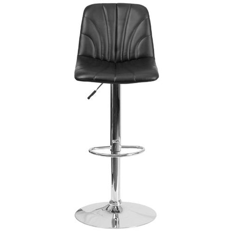 Flash Furniture Contemporary Black Vinyl Adjustable Height Barstool with Embellished Stitch Design and Chrome Base DS8220BKGG ; Image 5 ; UPC 889142056607