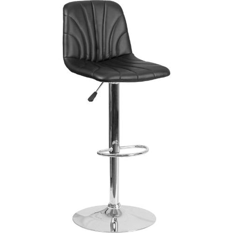 Flash Furniture Contemporary Black Vinyl Adjustable Height Barstool with Embellished Stitch Design and Chrome Base DS8220BKGG ; Image 1 ; UPC 889142056607