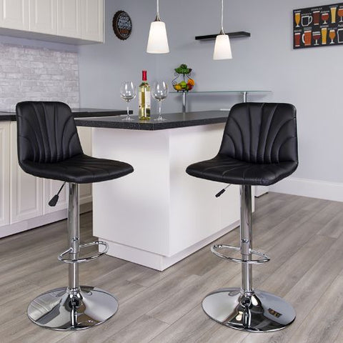Flash Furniture Contemporary Black Vinyl Adjustable Height Barstool with Embellished Stitch Design and Chrome Base DS8220BKGG ; Image 2 ; UPC 889142056607