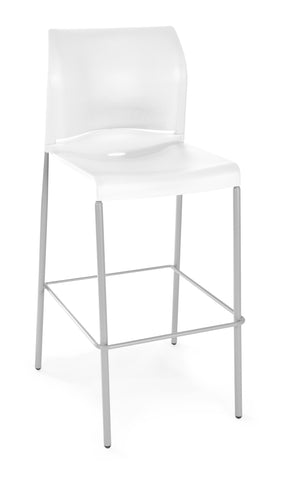 Essentials by OFM E2000 Café Height Stacking Stool, White ; UPC: 845123031346 ; Image 1