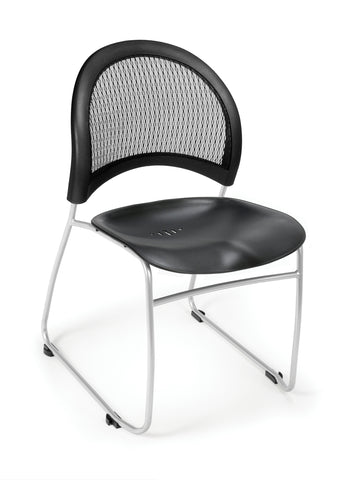 OFM 335-P-BLK Moon Stack Plastic Chair, Black ; UPC: 845123005590 ; Image 1