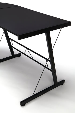 "OFM Essentials Collection 60"" Metal Frame L-Shaped Desk, Corner Computer Desk, in Black (ESS-1021 -BLK-BLK) ; UPC: 192767000079 ; Image 6"