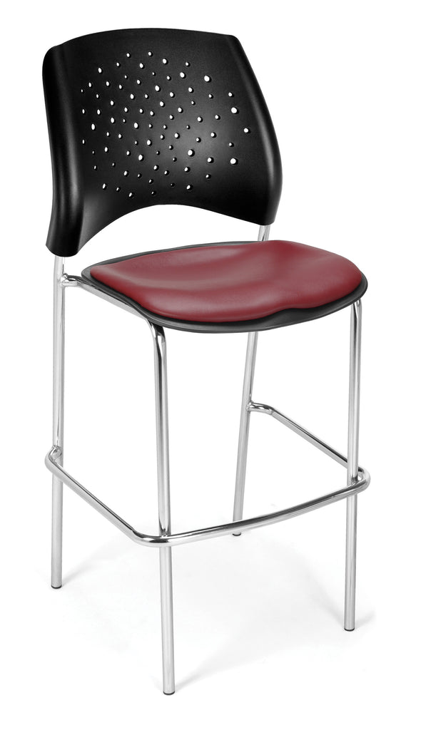OFM 328C-VAM-603 Stars Cafe Height Vinyl Chrome Chair, Wine ; UPC: 845123004173 ; Image 1