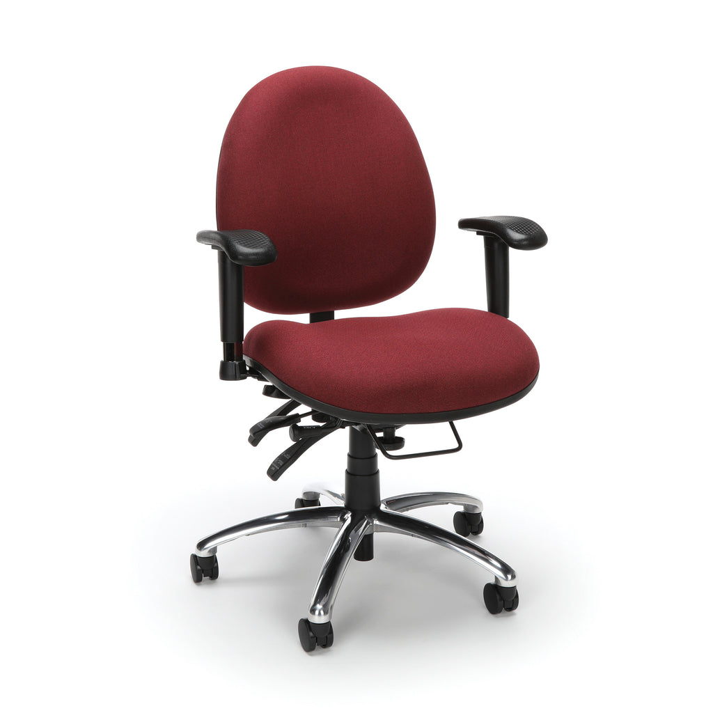 OFM 24 Hour Big and Tall Ergonomic Task Chair - Computer Desk Swivel Chair with Arms, Burgundy (247) ; UPC: 811588010288 ; Image 1