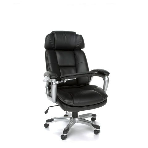 OFM Oro Series Model ORO100 Ergonomic Adjustable-Bolster Leather Executive Conference Chair with Tablet, Black ; UPC: 845123039175 ; Image 1
