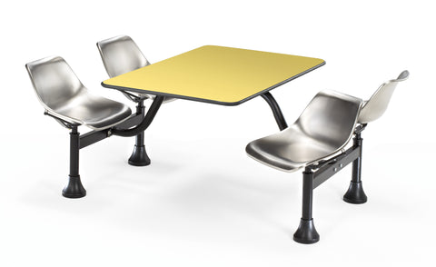 "OFM Model 1003 Cluster Seating Table with 30"" Top and 4 Seats, Yellow with Stainless Steel ; UPC: 845123010822 ; Image 1"