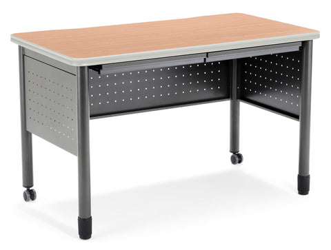 "OFM Mesa Series Model 66120 Steel Training Table and Desk with Pencil Drawers, 27.75"" x 47.25"", Maple ; UPC: 811588011759 ; Image 1"
