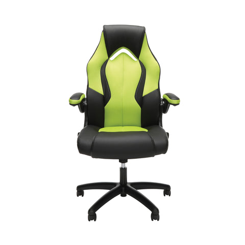 Essentials by OFM ESS-3086 High-Back Racing Style Bonded Leather Gaming Chair, Green ; UPC: 192767001205 ; Image 2