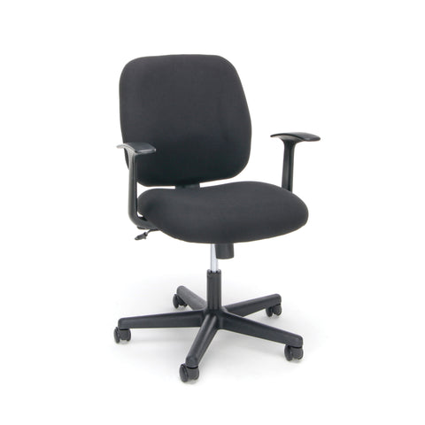 Essentials by OFM ESS-3070 Upholstered Swivel Task Chair with Arms, Black ; UPC: 089191013204 ; Image 1