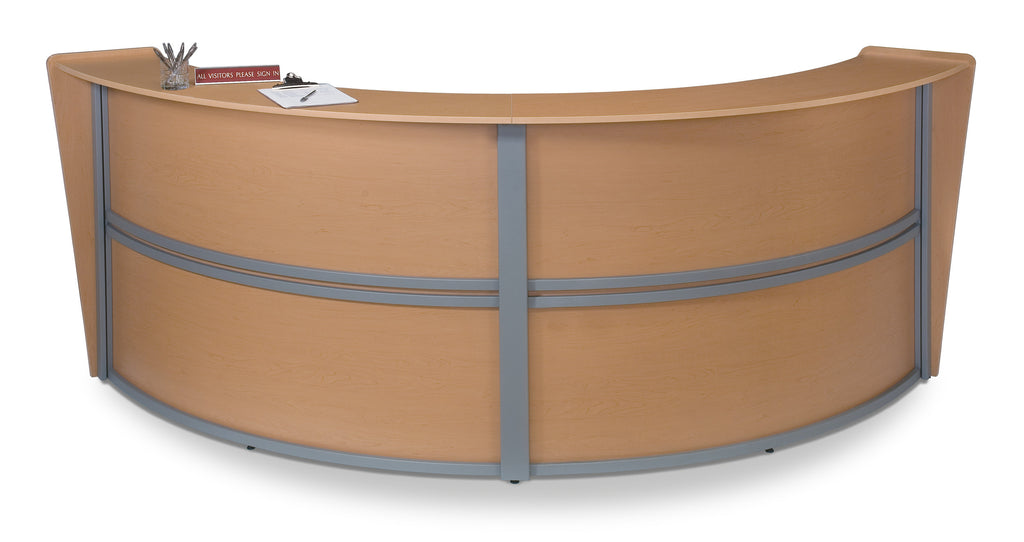 OFM Marque Series Double-Unit Curved Reception Station, Maple ; UPC: 845123022221 ; Image 1