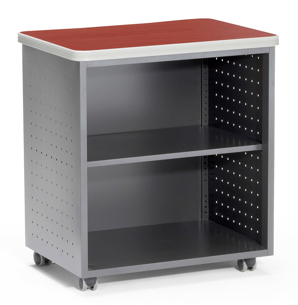 OFM Mesa Series Model 66745 Wheeled Mobile Utility Station with Shelf and Laminate Top, Cherry ; UPC: 811588012121 ; Image 1